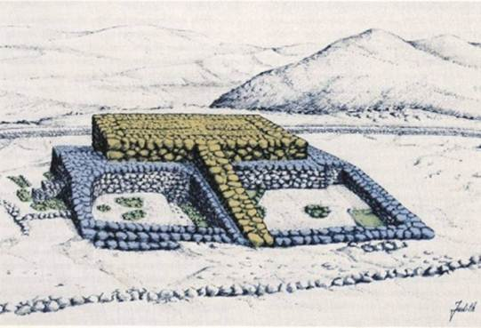 An artist's impression of the altar complex built by Joshua