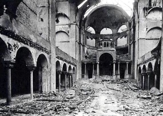 The synagogue of Berlin after Kristallnacht